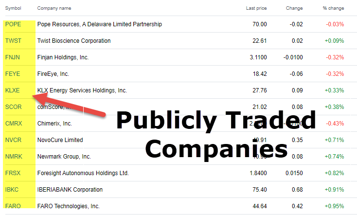Publicly Traded Companies