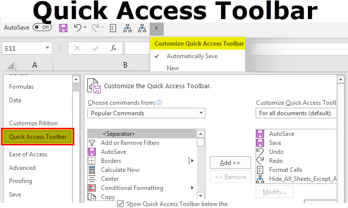 Quick Access Toolbar in Excel | How to Customize Quick Access Toolbar?