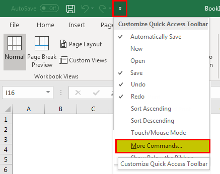 Quick access toolbar example 1.1