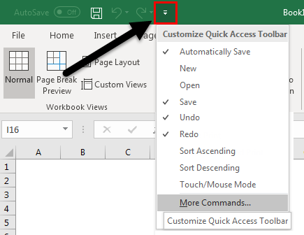 Quick access toolbar example 1.2