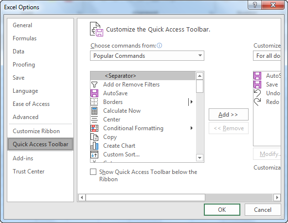 Quick access toolbar example 1.3
