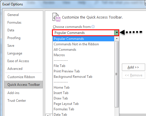 Quick access toolbar example 1.4