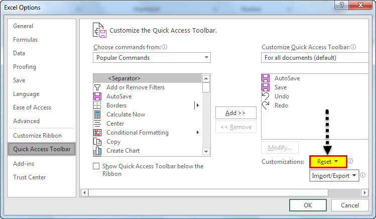 Quick access toolbar example 1.6