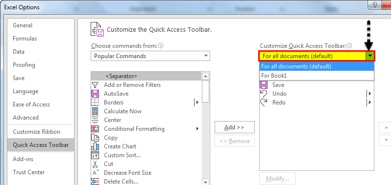 Quick access toolbar example 1.7