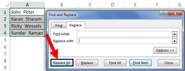 Remove Space Example 3-5