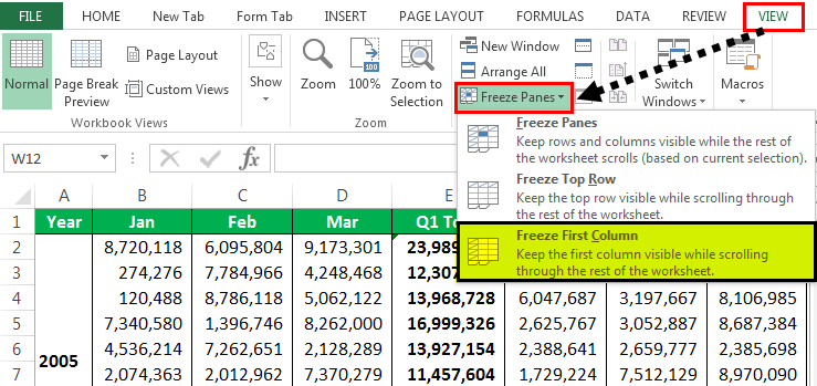 drop-down list of Freeze Panes