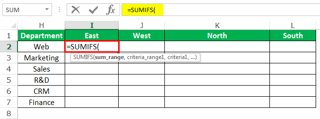 SUMIFS Example 3-1