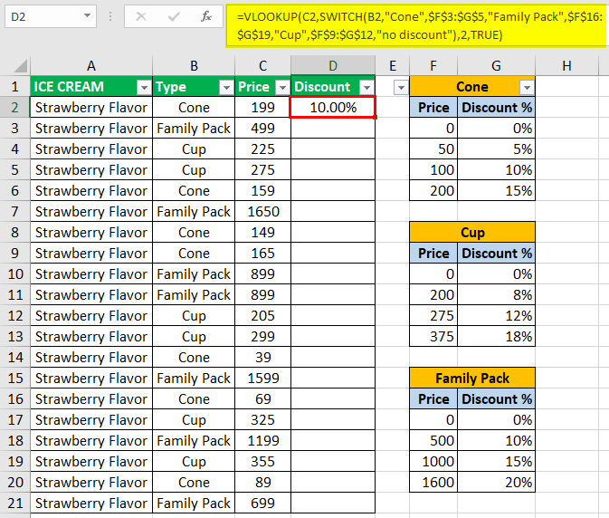 SWITCH Function using vlookup 1-2