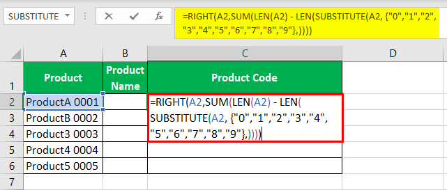 Separate Text using formula step 4