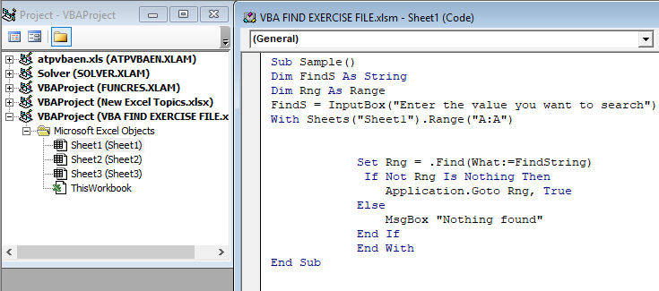 VBA Find Example 1-5