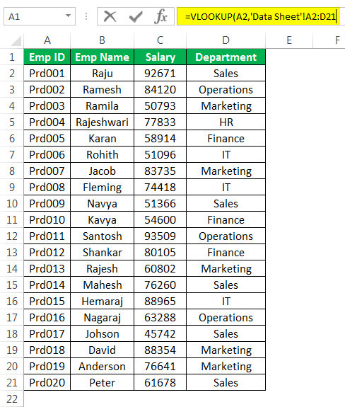 Vlookup From Anothersheet Example 2-2