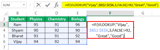 Vlookup with If Example 1-1