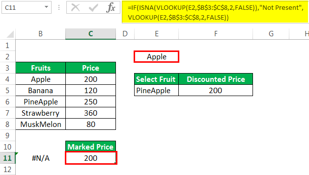 Vlookup with If Example 4-1