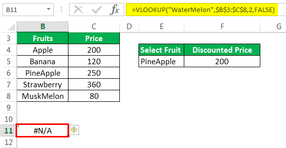 Vlookup with If Example 4