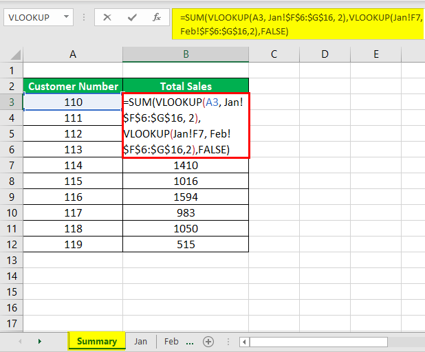 Vlookup with Sum Example 3-1