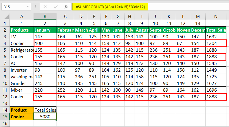 Vlookup with Sum Example 1-2