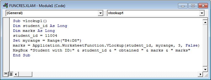 Vlookup with Vba Example 1-3