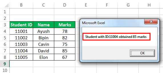 Vlookup with Vba Example 1-4