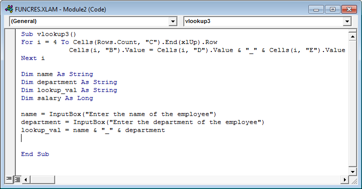 Vlookup with Vba Example 3-3