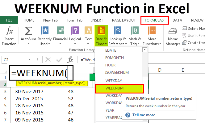 WEEKNUM Function in Excel