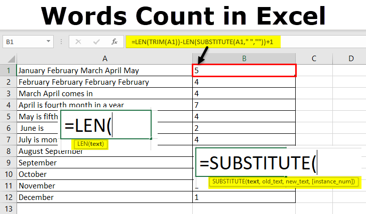 Words Count in Excel