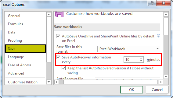 autosave in excel example 1.3