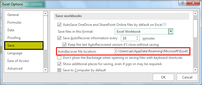 autosave in excel example 1.4