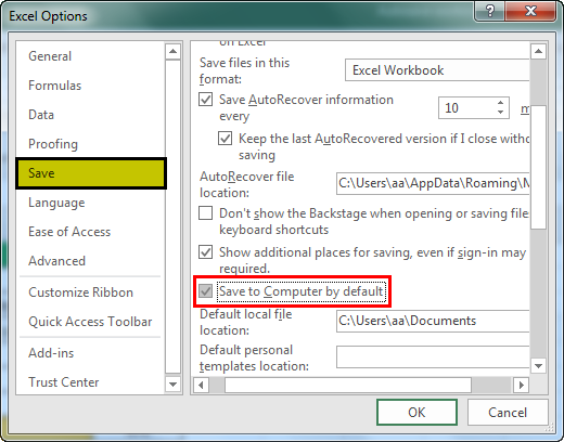 autosave in excel example 1.6