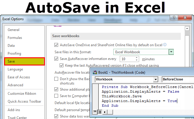 autosave in excel