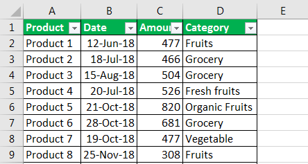 column filter in excel example 1.2