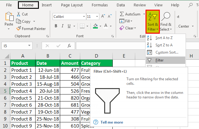 column filter in excel example 1.3
