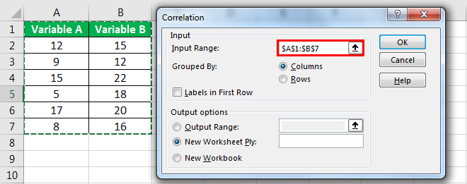 correleation matrix in excel example 4.6