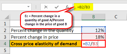 cross price elasticity formula example 1.3