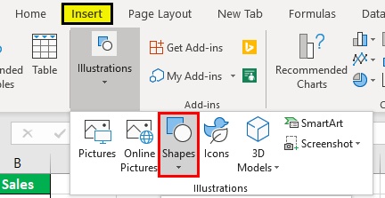 step 1 -click on Shapes