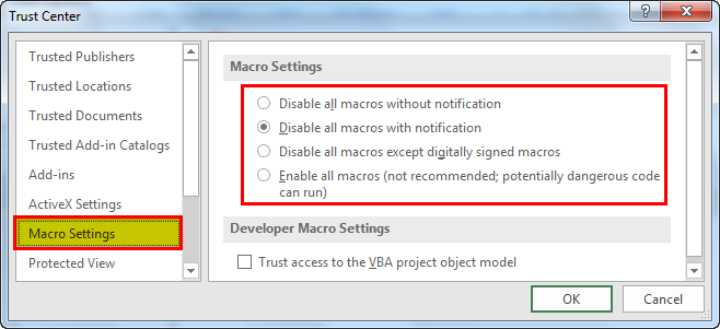 enable macros in excel example 1.3
