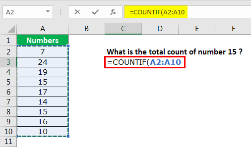 excel countif example 1.3