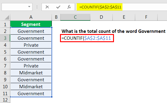 excel countif example 2.2