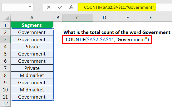 excel countif example 2.3