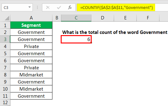 excel countif example 2.4