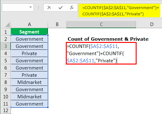 excel countif example 3.3