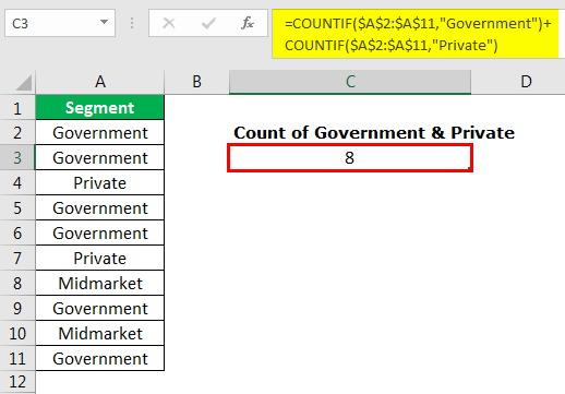 excel countif example 3.4