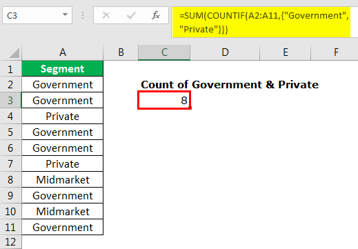 excel countif example 3.8