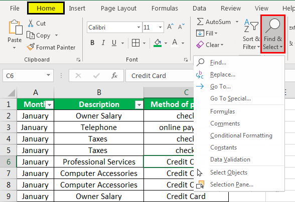 find in excel example 1.1