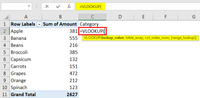 VLOOKUP in Pivot Table Example 4.2