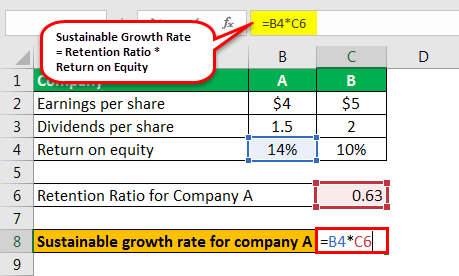 sustainable growth rate formula example 1.4