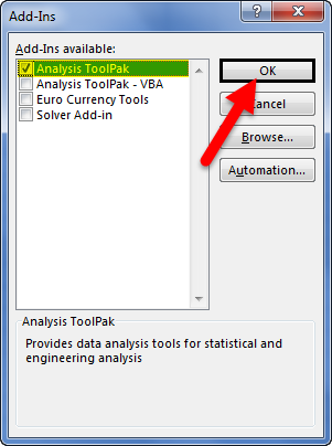 Analysis Toolpak step 4