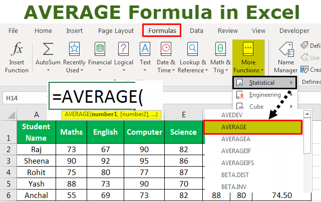 average formula in excel