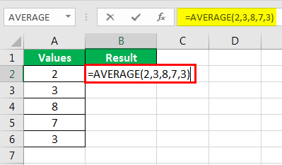 Average formula example 3