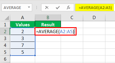 Average formula example 1-5