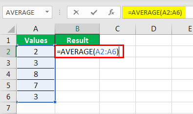 Average formula example 2